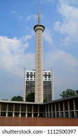 Jakarta, Indonesia - June 14, 2018:  Minaret of Istiqlal Mosque.