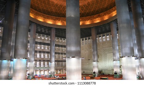 Jakarta, Indonesia - June 14, 2018: The interior of the Istiqlal Mosque.