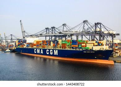 Jakarta / Indonesia - June 16 2019 : Vessel alongside in Jakarta International Container Terminal