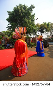 JAKARTA, INDONESIA - JUNE 2019 : GIANT PUPETS FROM THE BETAWI CULTURE THAT KNOWN AS ONDEL-ONDEL.