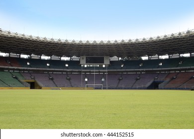 JAKARTA, INDONESIA - JUNE 22, 2016: Gelora bung karno stadium. Home of PERSIJA Persatuan Sepak Bola Indonesia Jakarta (Indonesian football club of jakarta)
