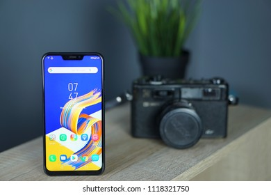 Jakarta, Indonesia - June 22, 2018. The notch in smartphone displays is one of those trends in 2018 - this is smartphone Android mid-range from ASUS, Zenfone 5.