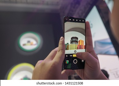 Jakarta, Indonesia - June 22, 2019: The Oppo Reno 10x Zoom is the new flagship of the maker and comes complete with a 13MP F/3.0 periscope camera with 10x hybrid zoom.