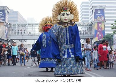 Jakarta, Indonesia. June 23, 2019. Ondel-ondel performance in Jakarta's anniversary celebration. Ondel-ondel is a large puppet figure featured in Betawi folk performance of Jakarta, Indonesia