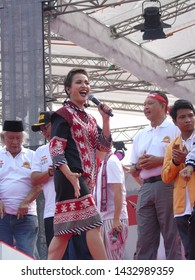 Jakarta, Indonesia - June 23, 2019: Lea Simanjuntak participate enliven the atmosphere at the Festival of Peace and Millennial Road Safety at the National Monument (Monas).