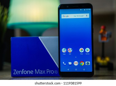 Jakarta, Indonesia - June 24, 2018. ASUS Zenfone Max Pro M1 is a top choice for its price and performance with SoC Qualcomm Snapdragon 636.