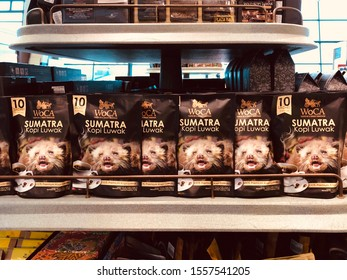 JAKARTA, INDONESIA, JUNE 25, 2019: The famous coffee beans of Jakarta is made from civet feces or called Kopi Luwak in Indonesian language.