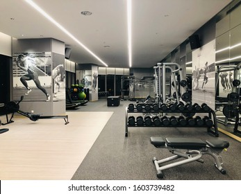 JAKARTA, INDONESIA, JUNE 25, 2019: The fitness room for guests of the Alila hotel SCBD, which is located at the SCBD Jakarta city.