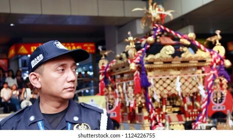 Jakarta, Indonesia - June 30, 2018: Guard keep mikoshi in Ennichisai 2018 (Japanese Festival) in Blok M (Little Tokyo), South Jakarta.