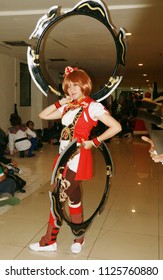 Jakarta, Indonesia - June 30, 2018: Participants of Indonesia Cosplay Grand Prix in Ennichisasi 2018 (Japanese Festival) at Blok M Plaza, South Jakarta before show.