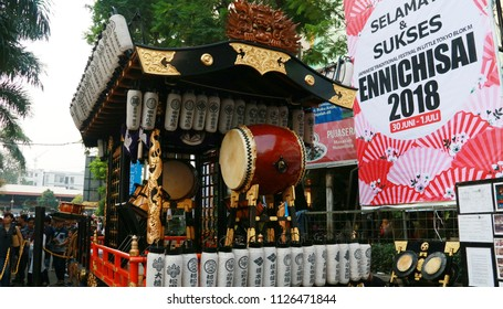 Jakarta, Indonesia - June 30, 2018: Dashi (colorfully decorated floats) in Ennichisai Blok M (Japanese Festival) in South Jakarta.
