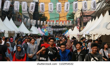 Jakarta, Indonesia - June 30, 2018: Visitor at Ennichisai 2018 (Japanese Festival) at Blok M Plaza, known as Little Tokyo, in South Jakarta.