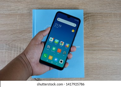 Jakarta, Indonesia - June 7, 2019: The Xiaomi Redmi 7 Android smartphone has a 6.26-inch HD+ (1520 x 720 pixels) display with a u-shaped notch.