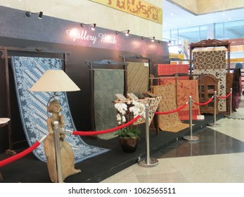 JAKARTA, INDONESIA - June 8, 2017: Display of Gallery Batik in Gelar Batik Nusantara exhibition at Jakarta Convention Center.