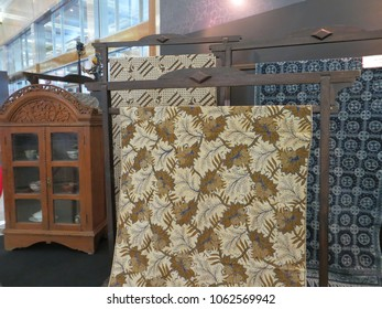 JAKARTA, INDONESIA - June 8, 2017: Display of batik clothes in Gelar Batik Nusantara exhibition at Jakarta Convention Center.
