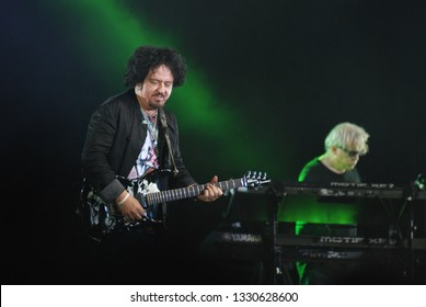 JAKARTA, INDONESIA - MARCH 03, 2019: American rock band Toto on Jakarta. Steve Lukather guitar player of rock band Toto
