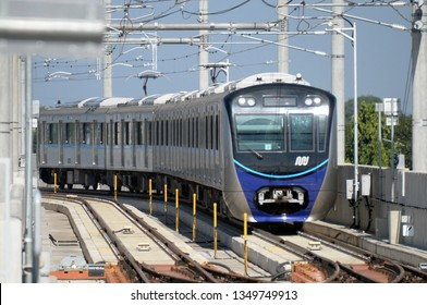 JAKARTA, INDONESIA - MARCH 13, 2019: Resident are invited for a test-ride on Jakarta Mass Rapid Transit (MRT) train during a trial operation for public in Jakarta, Indonesia.