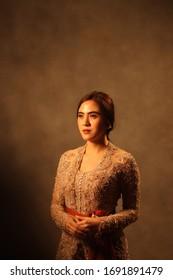 Jakarta, Indonesia - March 13 2020 : Indonesian beautiful women wearing indonesia traditional dress, kebaya