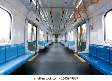 JAKARTA, INDONESIA - MARCH 14, 2019: Jakarta Mass Rapid Transit (MRT) train during a trial operation for public in Jakarta.