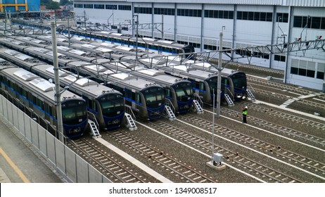Jakarta, Indonesia - March 15, 2019: Security officers checked the MRT train at the MRT depot in Lebak Bulus, South Jakarta.