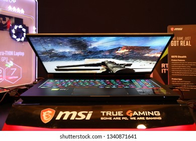 "Jakarta, Indonesia - March 17, 2019: The MSI GS65 Stealth GS Series laptop has a 15.6"" Full HD (1920x1080), 144Hz, IPS-level gaming display panel."