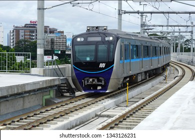 Jakarta, Indonesia March 19, 2019 : The Jakarta MRT train start operations in March 2019 for the Bundaran HI central Jakarta to Lebak Bulus  with a journey distance of approximately 16 km.