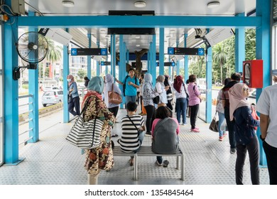 JAKARTA - Indonesia. March 20, 2019: Crowded passengers waiting Transjakarta bus arrival the bus stop