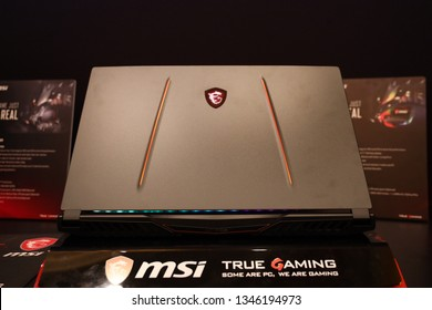 "Jakarta, Indonesia - March 22, 2019: The MSI GE75 Titan GE Series laptop has a 17.3"" Full HD (1920x1080), 144Hz IPS-level gaming panel."