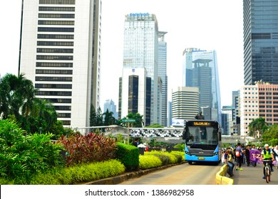 Jakarta, Indonesia - March 23, 2019: Crossing bridges in Senayan, Jakarta. This bridge has a beautiful and futuristic shape. Below that is the Transjakarta bus stop, this place is very iconic