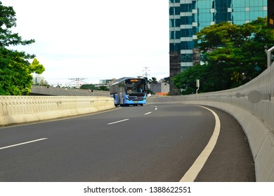 Jakarta, Indonesia - March 23, 2019: Transjakarta bus vehicles, is one of the public transportation in the city of Jakarta. Transjakarta can be an option to get around the city of Jakarta,