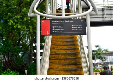 Jakarta, Indonesia - March 23, 2019: The Transjakarta bus stop is made in several locations in the capital city of Jakarta, Transjakarta is the people's favorite choice in using public transportation.