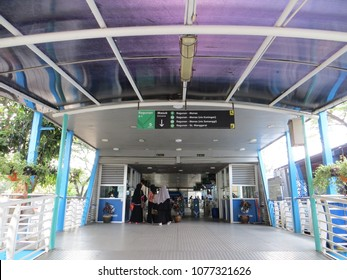 JAKARTA, INDONESIA - March 24, 2017: Entrance gate of TransJakarta bus shelter in Ragunan.