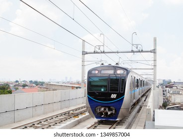Jakarta, Indonesia, March 26, 2019 : The full trial run of the MRT Jakarta