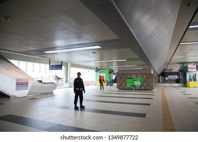 Jakarta, Indonesia, March 26, 2019 : MRT Station Blok A and fase full trial run MRT Jakarta