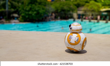 Jakarta, Indonesia - March 27, 2016: Sphero's BB-8 toy on the pool.