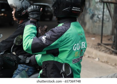 Jakarta, Indonesia - March 27 2017: Gojek Driver Jacket.  Gojek is Indonesian transportation startup