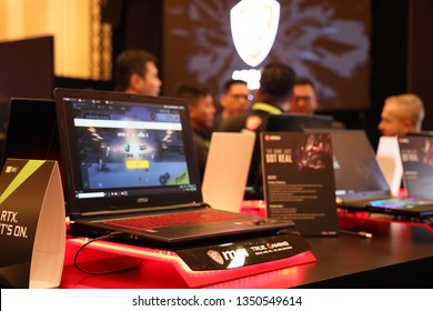 "Jakarta, Indonesia - March 27, 2019: The MSI GL73 Modern GL Series laptop has a 17.3"" Full HD (1920x1080), 120 Hz Refresh Rate and 3ms response time panel."
