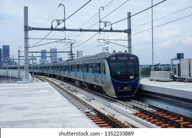 Jakarta, Indonesia March 28, 2019: The Jakarta MRT train officially operates in March 2019 for the Bundaran HI to Lebak Bulus in a distance of 16 KM with 6 underground stations and 7 elevated stations