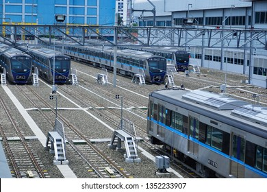 Jakarta, Indonesia March 28, 2019: MRT train set at depot Lebak Bulus. The Jakarta MRT train officially operates in March 2019 for the Bundaran HI to Lebak Bulus in a distance of 16 KM .