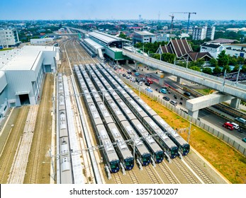 Jakarta / Indonesia - March 30th, 2019: Aerial View of Lebak Bulus Mass Rapid Transit Station and Train Depot Lebak Bulus, Jakarta, Indonesia, Asia