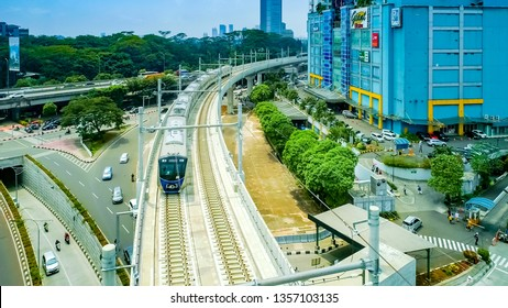 Jakarta / Indonesia - March 30th, 2019: Aerial View of Mass Rapid Transit Jakarta Running on Elevated Railway, Near Train Depot and Lebak Bulus Station, Indonesia, Asia