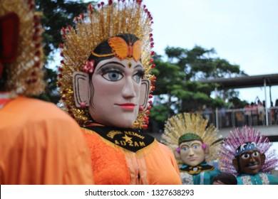 Jakarta, Indonesia March 4 ,2018 - Ondel Ondel Betawi giant puppet icon of Jakarta