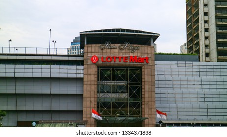 Jakarta, Indonesia - March 6, 2019: Lotte Mart on Jalan Sudirman.  The South Korea-based retailer.