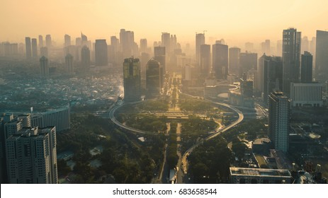 JAKARTA, Indonesia. May 12, 2017: Aerial view under overpass in the city. Shot at sunset time