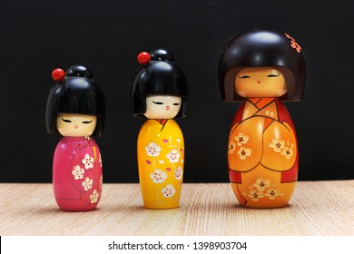 Jakarta, Indonesia May 14, 2019 : Kokeshi traditional Japanese wooden doll on display
