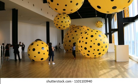 Jakarta, Indonesia - May 16, 2018: Dots Obsessions by Yayoi Kusama at the YAYOI KUSAMA: Life is the Heart of a Rainbow exhibition held at Museum of Modern & Contemporary Art in Nusantara.