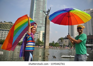 Jakarta, Indonesia - May 17, 2015: The International Day Against Homophobia, Biphobia, and Transphobia was marked with rainbow flags in Jakarta - Indonesia