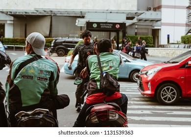 Jakarta, Indonesia - May 2 2018: Gojek drivers waiting for passenger. Gojek is Indonesian transportation startup