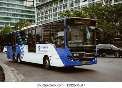 Jakarta, Indonesia - May 2 2018: Indonesian Transjakarta bus on sudirman street