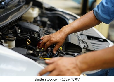 Jakarta, Indonesia - May 2 2018: View of mechanical hand fixing car